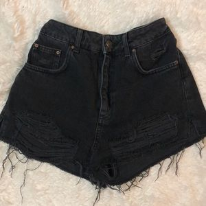 TOPSHOP MOTO distressed jean shorts
